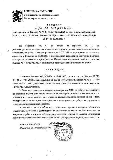 Заповед: Удължава се срокът на противоепидемичните мерки до 12 април