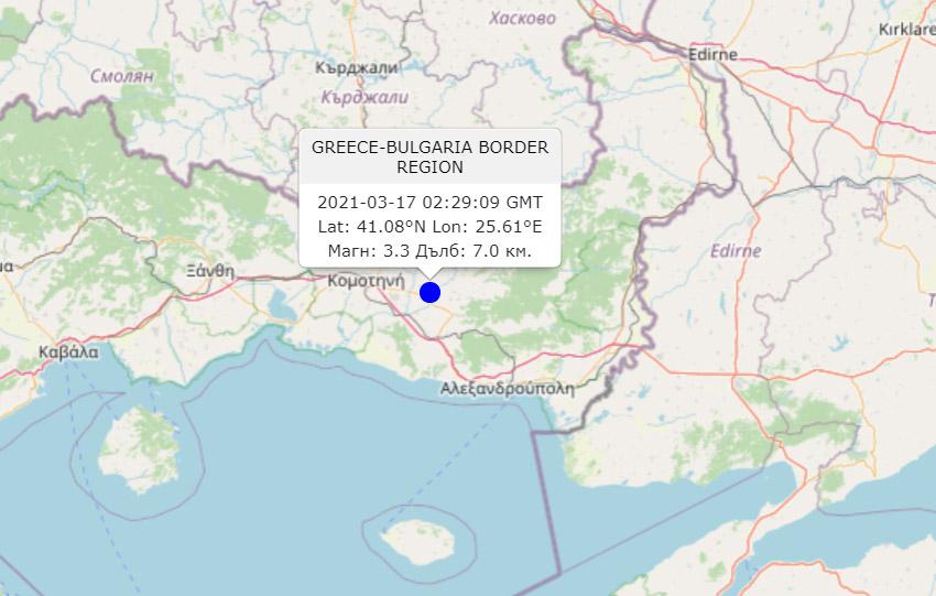 Леко земетресение е усетено в района на Крумовград