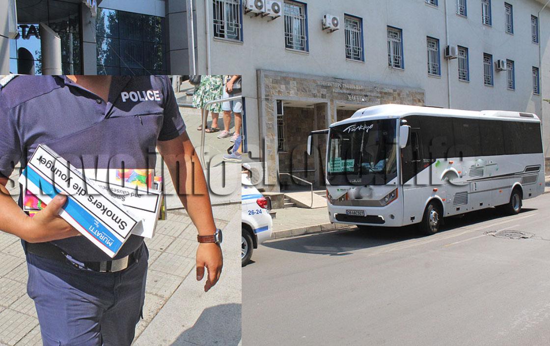 Втори автобус с кърджалийци ескортиран до полицейското управление, иззети са още 780 къса безакцизни папироси