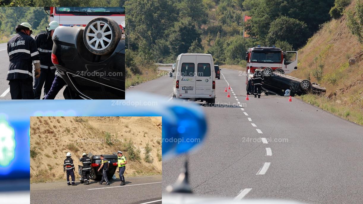 """ВИДЕО: 58-годишен бил зад волана на обърнатото """"Ауди"""""""