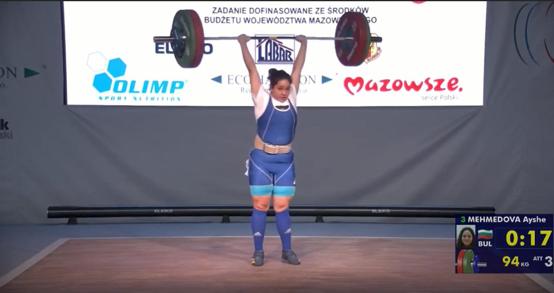 """Айше Мехмедова остана 6-та в """"категорията на каките"""" на Европейското по вдигане на тежести"""