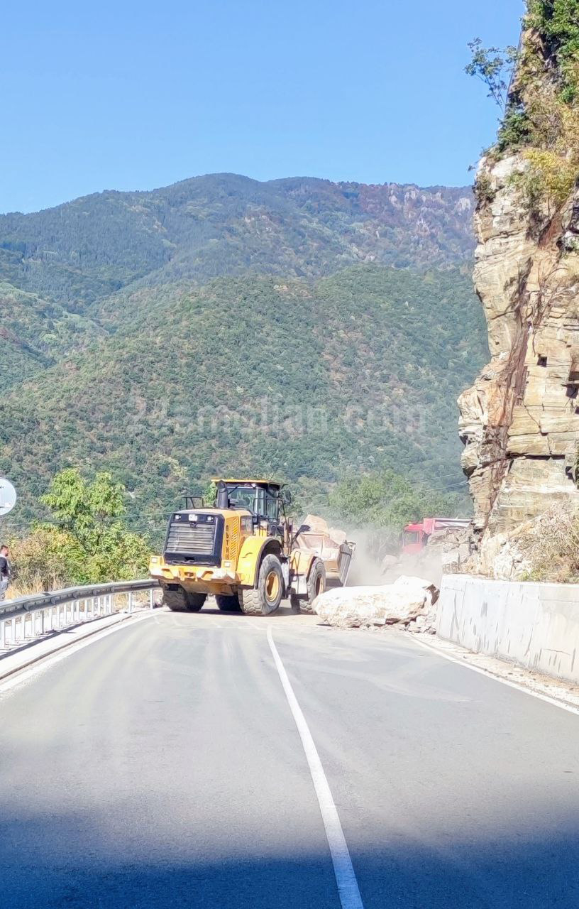 Паднала скална маса затвори за часове път в Родопите