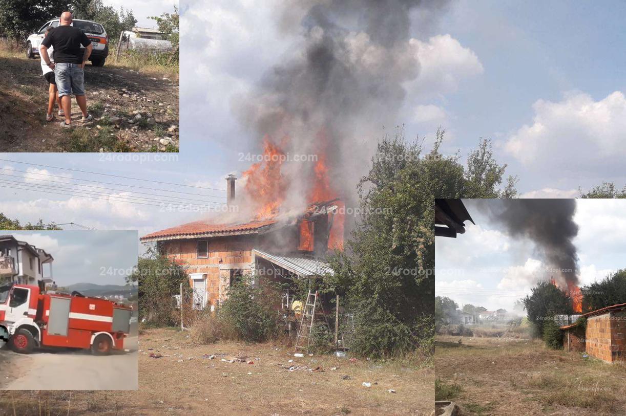 Щетите след пожара във вилата: Унищожен е покривът, дограма, техника, мебели…