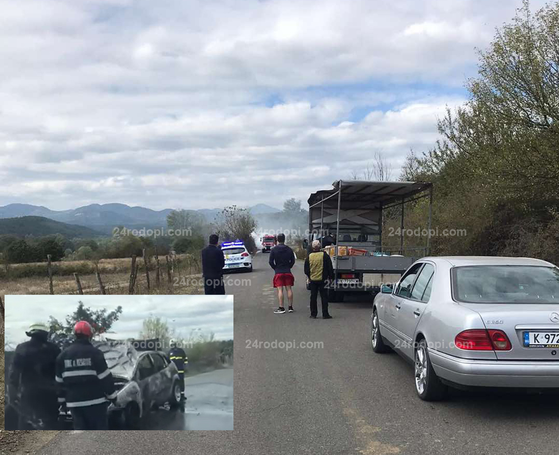 Kола пламна в движение и затвори пътя Джебел – Маказа (снимки, видео)